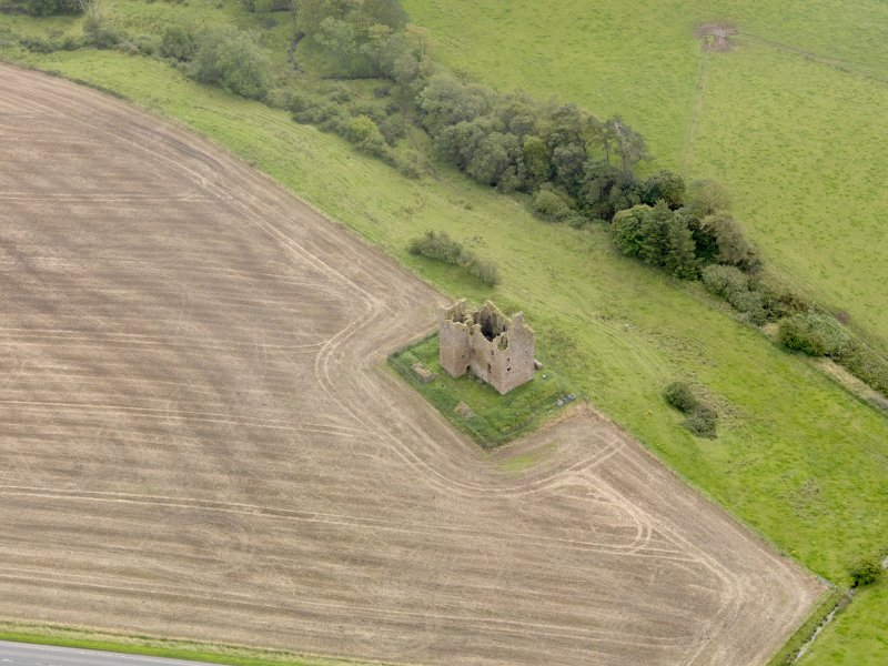 Oblique aerial view of Baltersan Castle, taken from the NW.