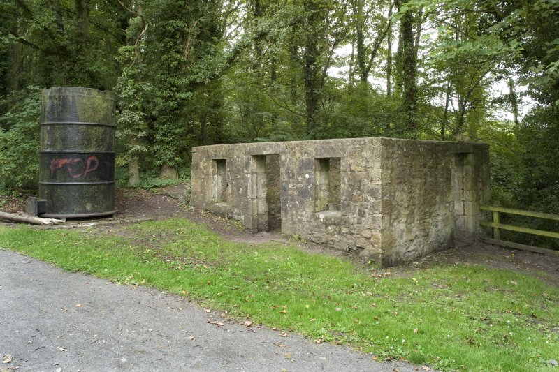 General view of James Watt's Cottage, Kinneil, Bo'ness, taken from the North-East. This remains of this small building are situated to the South-West of Kinneil House. This photograph was taken as part of the Bo'ness Urban Survey to illustrate the character of the Kinneil Area of Townscape Character.