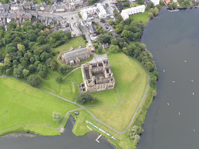 Oblique aerial view of Linlithgow Palace, taken from the NNE.