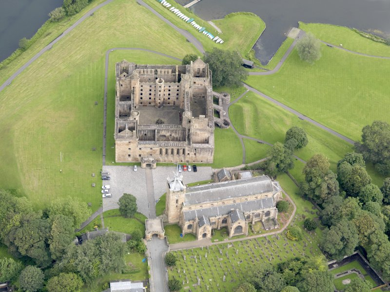 Oblique aerial view of Linlithgow Palace, taken from the W.