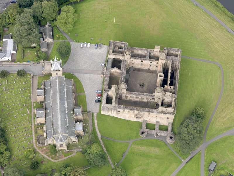 Oblique aerial view of Linlithgow Palace, taken from the E.
