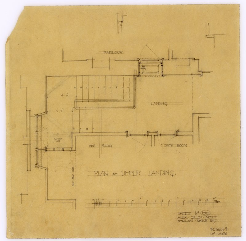 A plan of the upper landing of the Librarian's House in Hamilton Public Library.