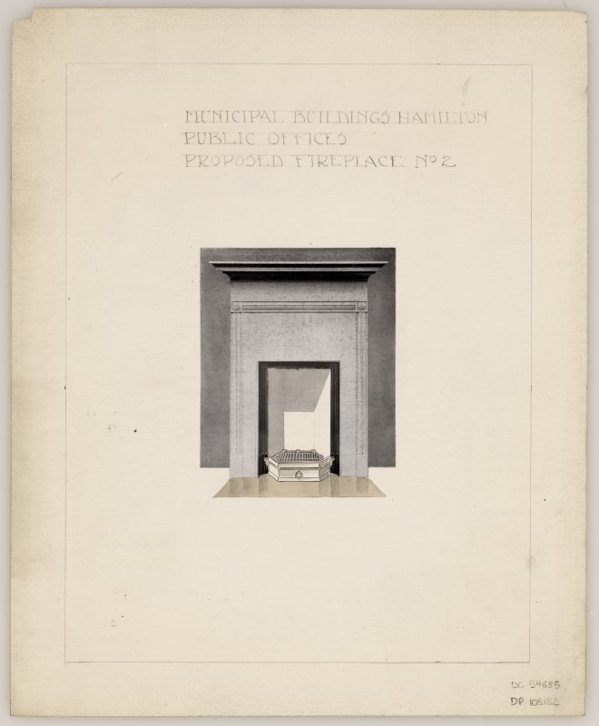 Proposed fireplace No. 2 for Public Offices in Hamilton Municipal Buildings.