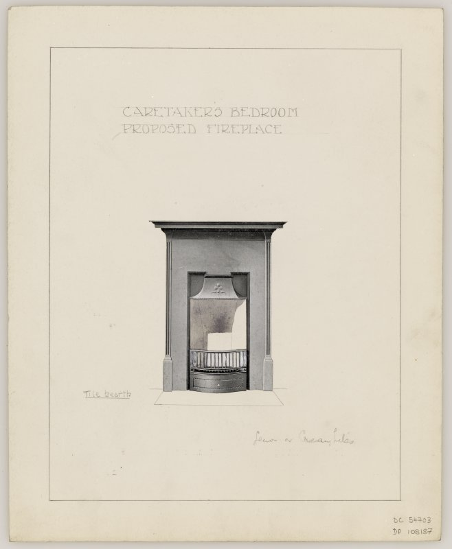 Proposed fireplace for Caretaker's Bedroom in Hamilton Municipal Buildings.