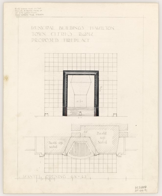 Proposed fireplace for Town Clerk's Room in Hamilton Municipal Buildings.