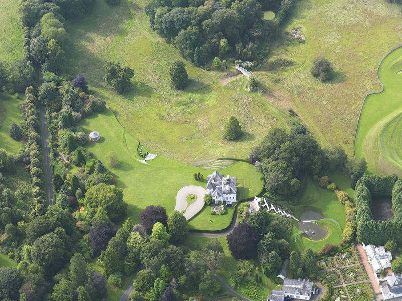Oblique aerial view of Portrack House and gardens, taken from the ESE.