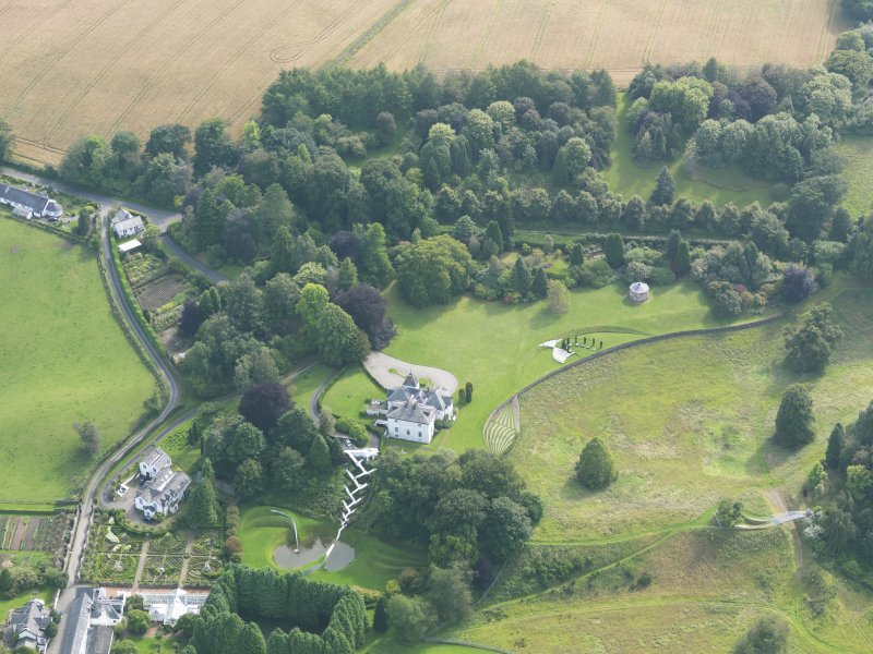 Oblique aerial view of Portrack House and gardens, taken from the NNE.