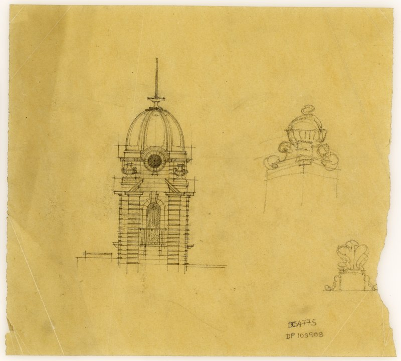 Sketch of domed tower in Hamilton Public Library.