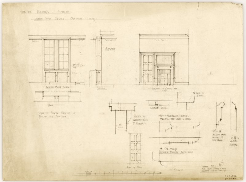Joiner work details for Caretaker's House in Hamilton Municipal Buildings.