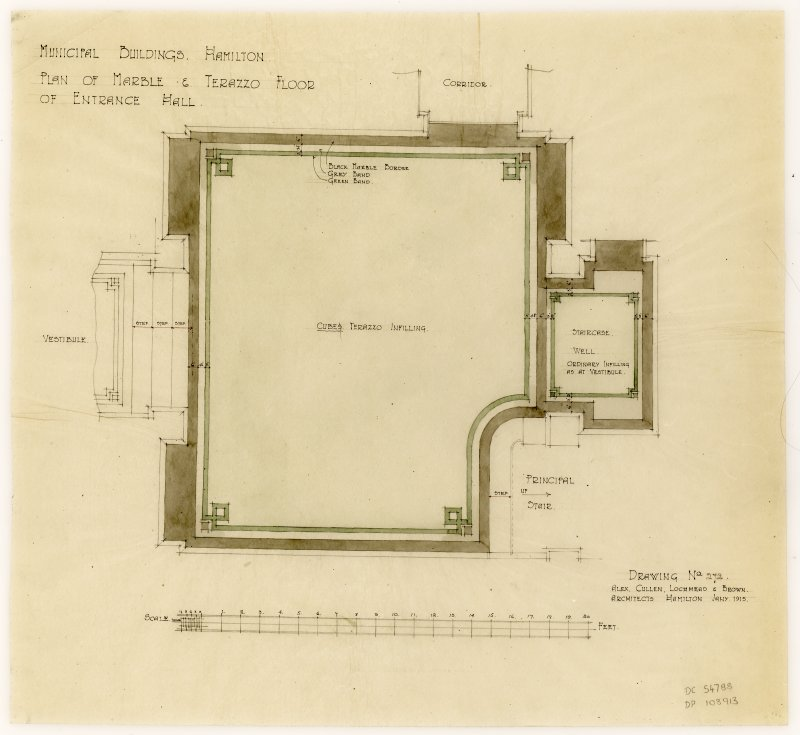 Plan of marble and terazzo floor of entrance hall to Hamilton Municipal Buildings.