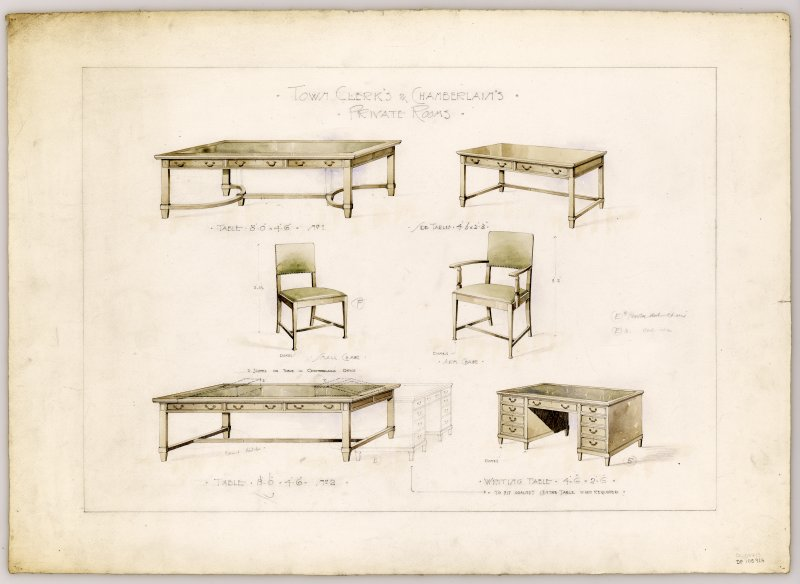 Drawings of furniture for Town Clerk's & Chamberlain's Private Rooms in Hamilton Municipal Buildings.
