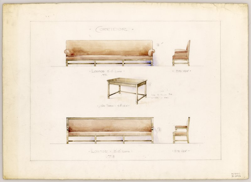 Drawings of furniture for corridors in Hamilton Municipal Buildings.