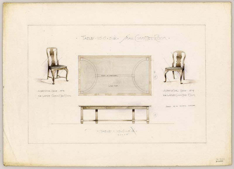 Drawings of furniture for Small Committee Room in Hamilton Municipal Buildings.