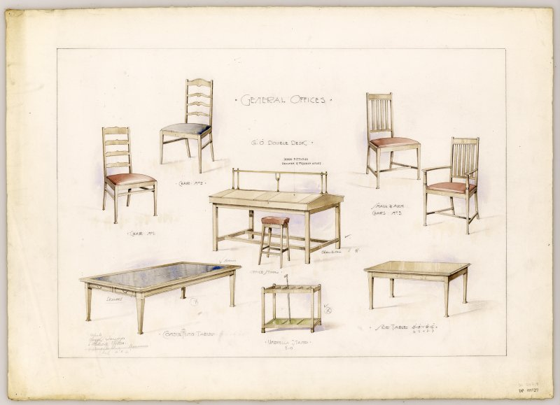 Drawings of furniture for General Offices in Hamilton Municipal Buildings.