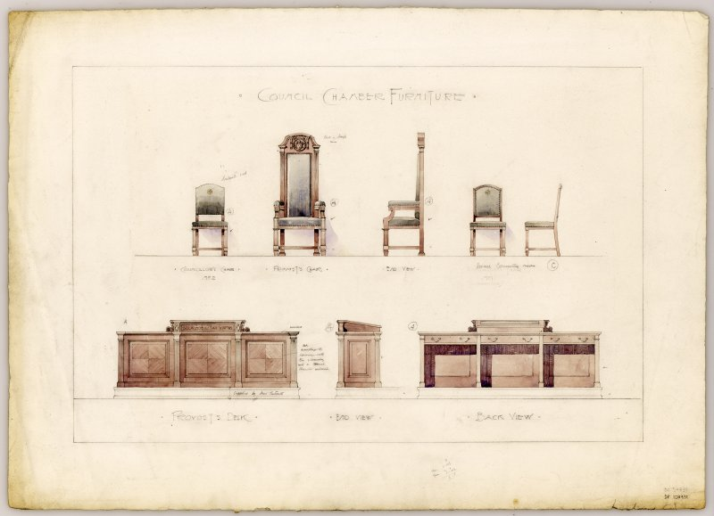 Drawings of furniture for Council Chamber, including Provost's Desk and Provost's Chair, in Hamilton Municipal Buildings.