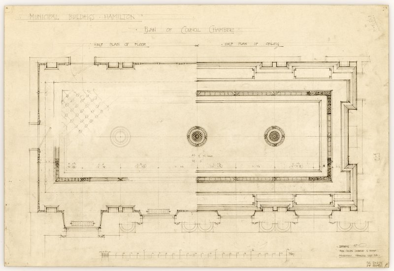Floor and ceiling plan of the Council Chamber in Hamilton Municipal Buildings.