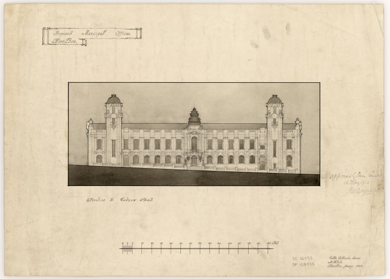 Elevation drawing of successful Hamilton Municipal Buildings design.