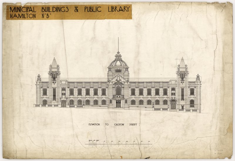 Elevation of Hamilton Municipal Buildings and Public Library to Cadzow Street.