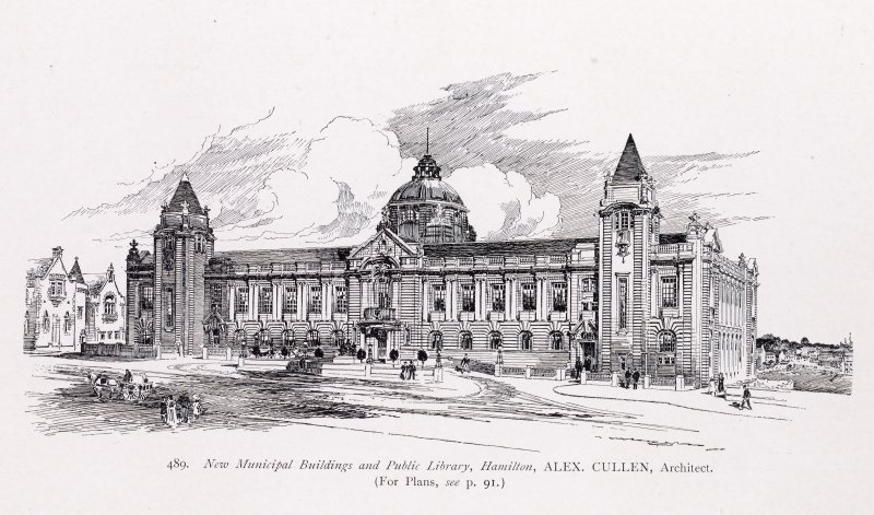 Perspective sketch of Hamilton Municipal Buildings and Public Library, Academy Architecture (Vol 27;1905)