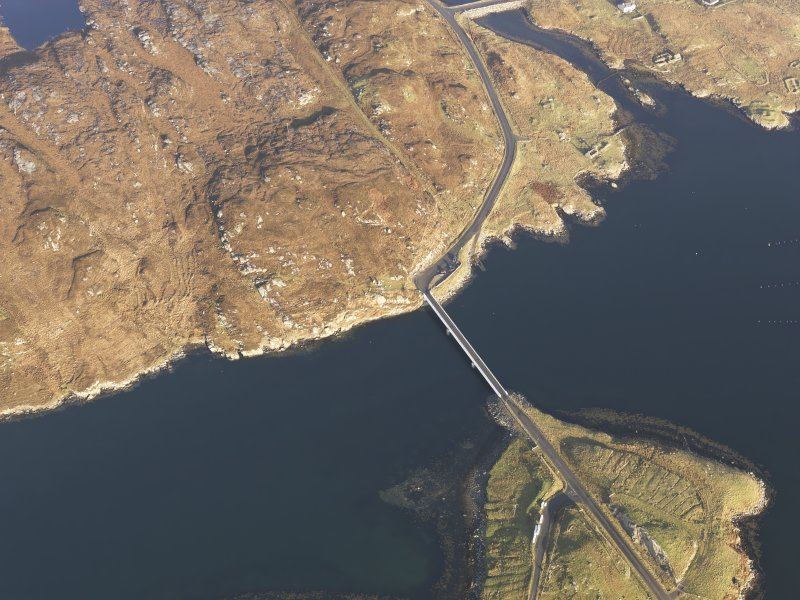 Oblique aerial view centred on the Bernera Bridge, taken from the SW.