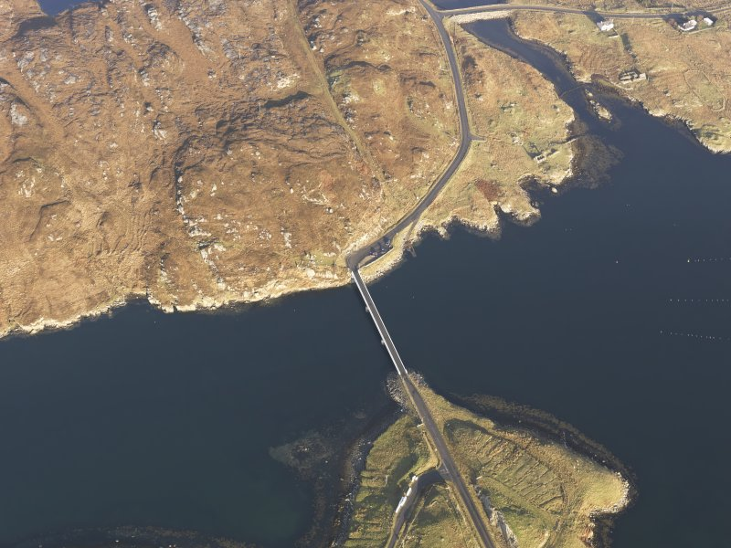 Oblique aerial view centred on the Bernera Bridge, taken from the SSW.