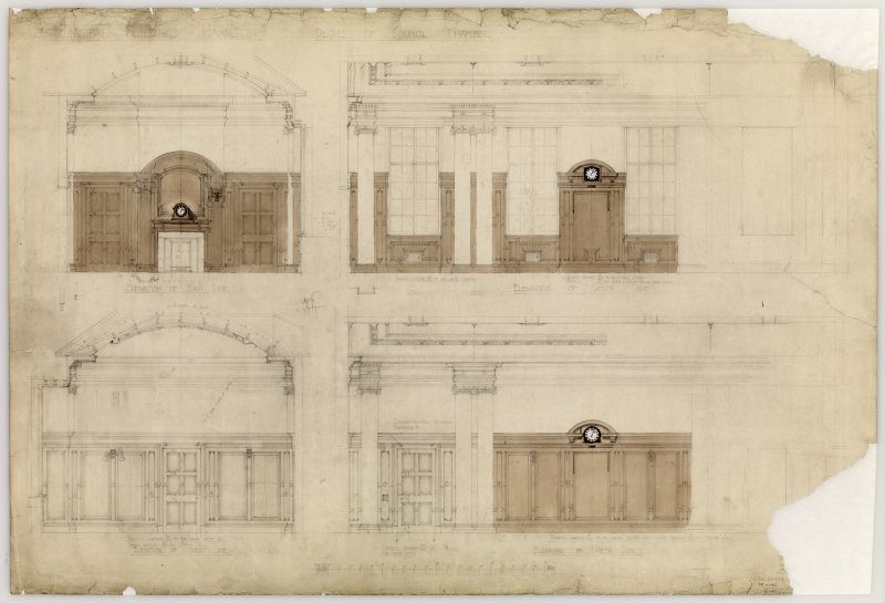 Details of Council Chamber interior elevations.