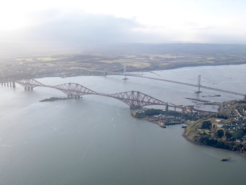 General oblique aerial view of the River Forth centred on the Forth Railway Bridge, taken from the NE.