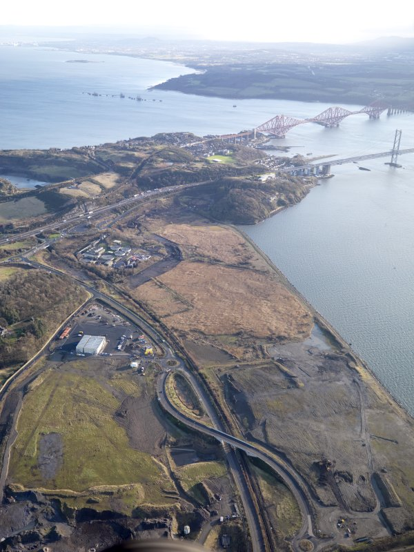 General oblique aerial of the new Forth crossing works site, taken from the WNW.