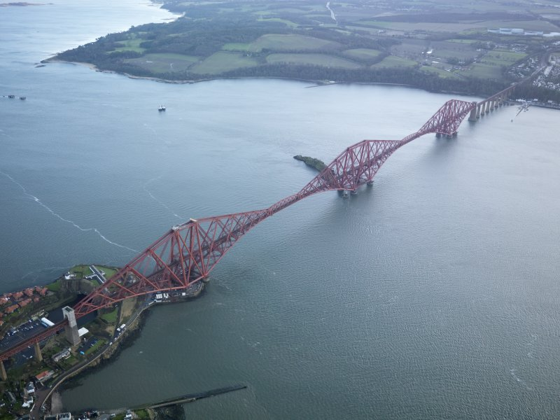 Oblique aerial view of Forth Railway Bridge, taken from the NW.