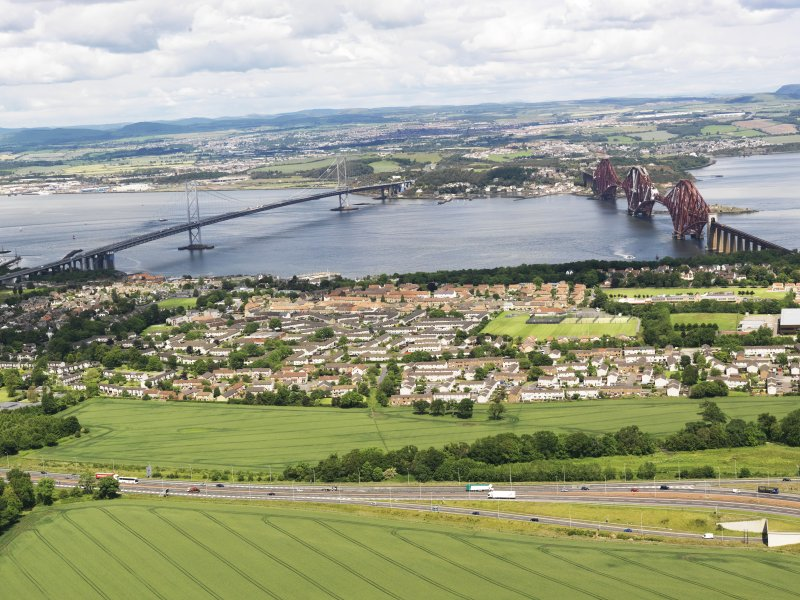 General oblique aerial view of South Queensferry, Forth Rail Bridge and Forth Road Bridge, taken from the NW.