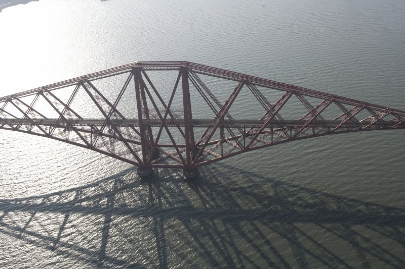 Oblique aerial view of one of the spans of the Forth Rail Bridge, looking W.