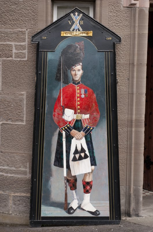Painted panel of sentry box and Black Watch soldier at main entrance.