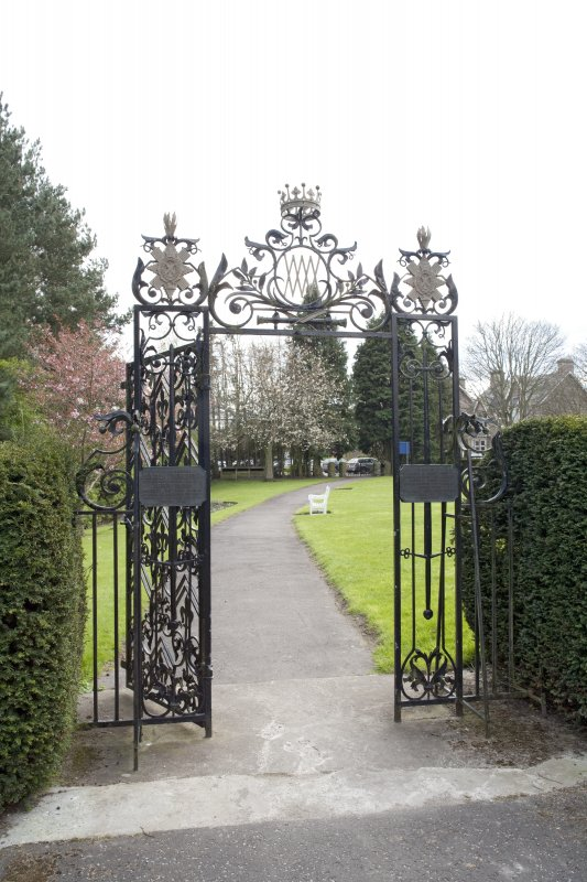 View of garden gates to south of castle.