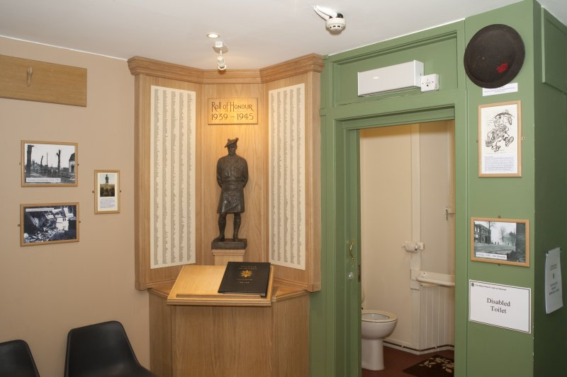 Ground floor. Gallery 7. Roll of honour 1939-45 and disabled toilet partition.