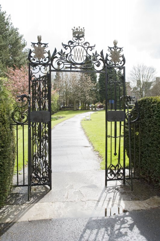 Garden gates to south of castle from north.