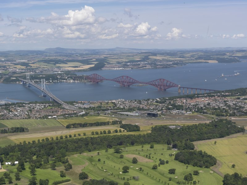 General oblique aerial view of the Firth of Forth centred on The Forth bridges, taken from the SSW.