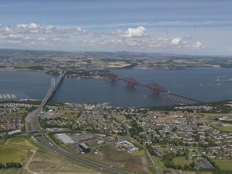 General oblique aerial view of the Firth of Forth centred on The Forth bridges, taken from the S.