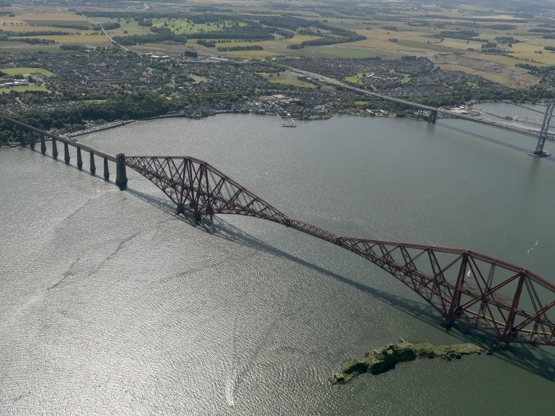 Oblique aerial view of the Forth Bridge, taken from the NE.