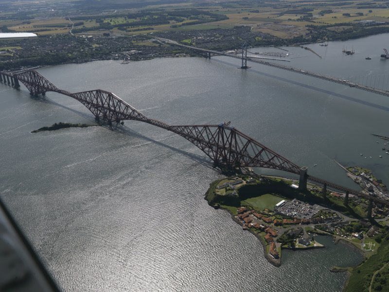 Oblique aerial view of the Forth Bridge, taken from the NNE.