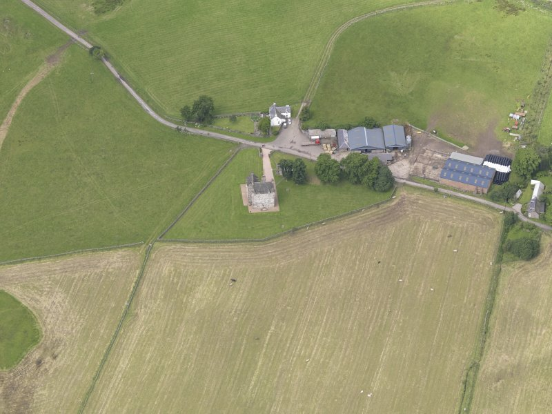 Oblique aerial view of Fortar Castle, taken from the ESE.