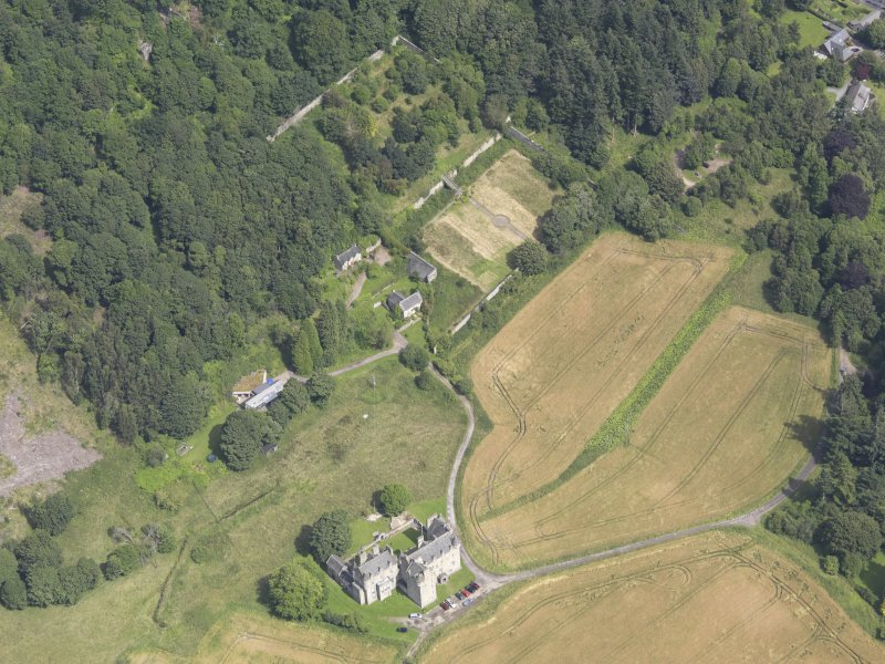 Oblique aerial view of Castle Menzies, taken from the SW.