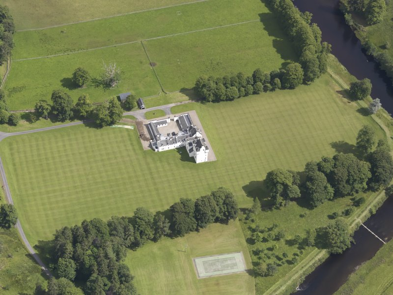 Oblique aerial view of Meggernie Castle, taken from the WSW.