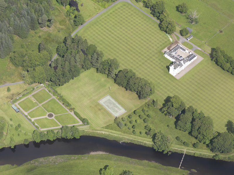 Oblique aerial view of Meggernie Castle, taken from the SSW.