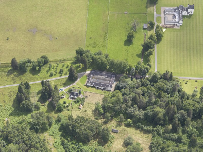 Oblique aerial view of Meggernie Castle, taken from the N.