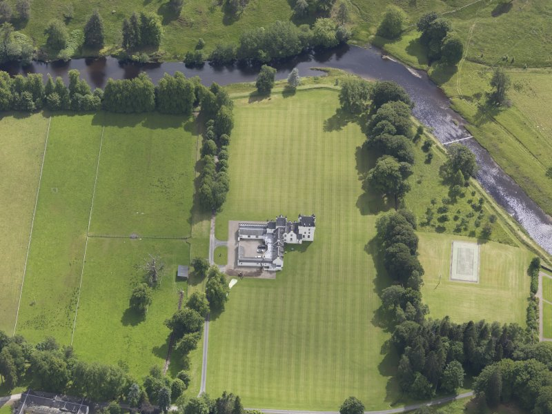 Oblique aerial view of Meggernie Castle, taken from the NNW.