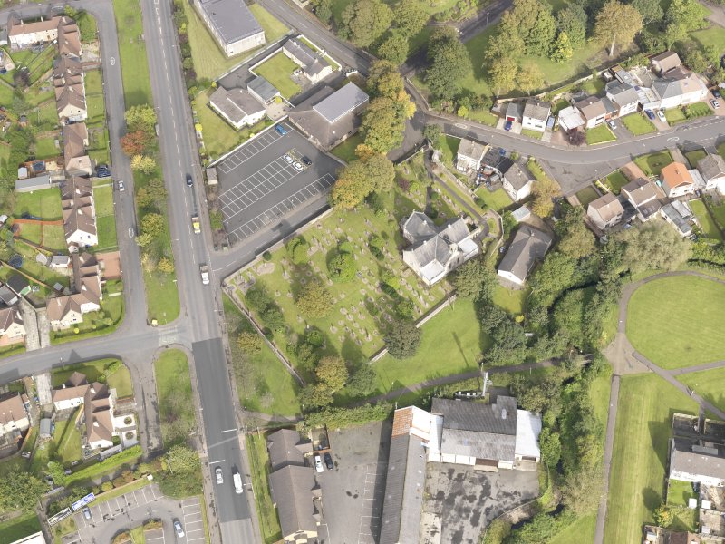 Oblique aerial view of Whitburn Parish Church, looking to the N.