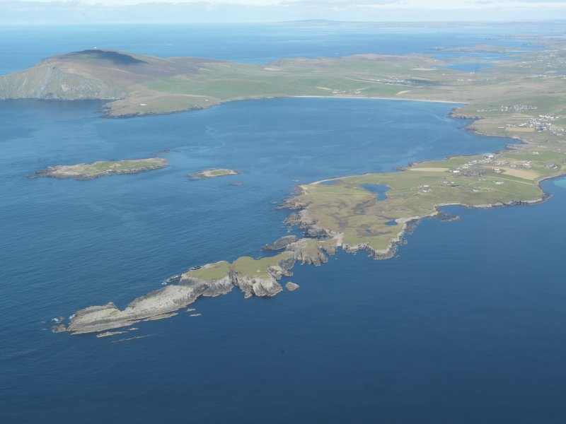 General oblique aerial view of Scat Ness, looking NW.