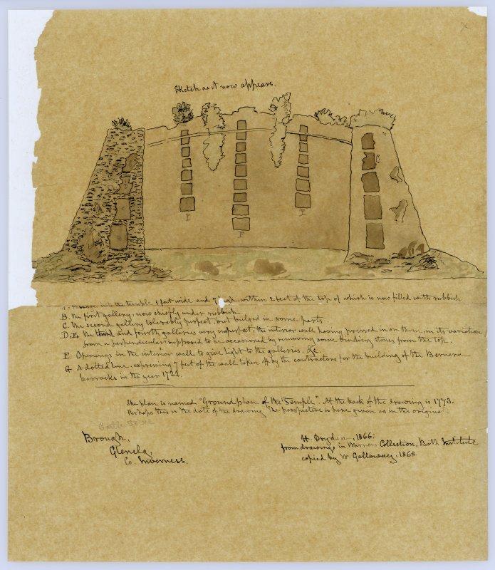 Sketch section through Dun Troddan broch