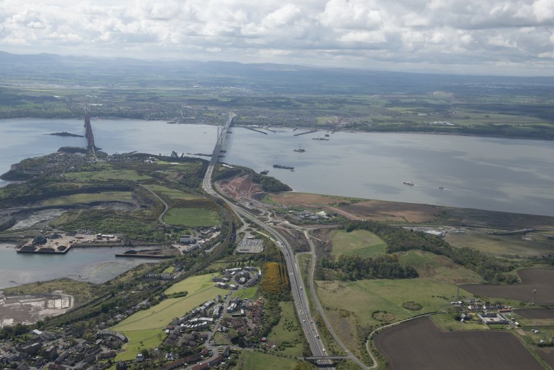 General oblique aerial view of the River Forth centred on the new  Forth Bridge crossing, looking to the ESE.