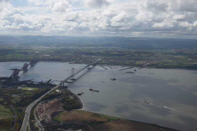 General oblique aerial view of the River Forth centred on the new  Forth Bridge crossing, looking to the SE.